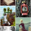 Bilde laget med picsart, en telefon, Lampe, Jente og en katt, to potret bilder av jenter