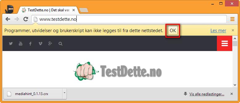 Bilde: Programmer, utvidelser og brukerskript kan ikke legges til fra dette nettstedet. OK.